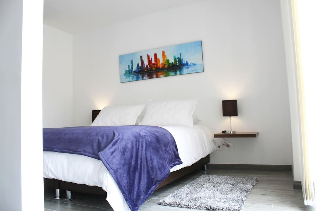 The comfortable and spacious bedroom with a queen sized bed.