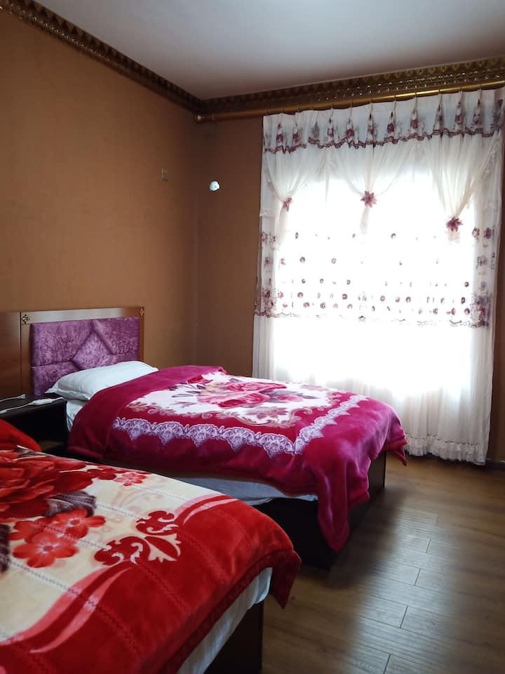 清月居  加绒小院双床房1。