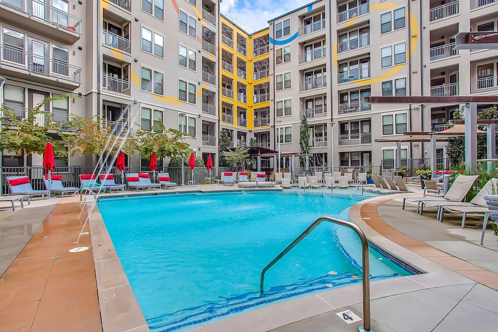 Impress your friends and family with the gorgeous pool and fountain with cabanas and luxury outdoor lounging areas!