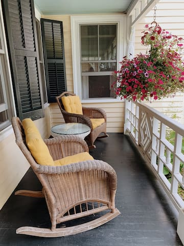 Private seating, 2 of 4 chairs provided. These with soft cushions. A great spot to have morning coffee!