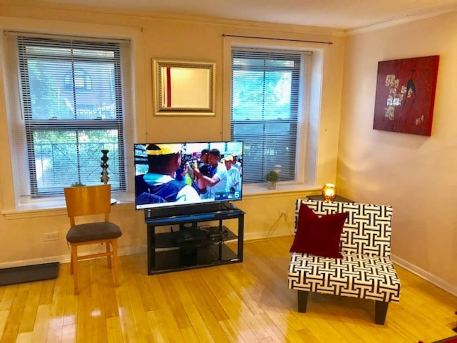 Living Room with Southern Exposure windows. Smart TV with streaming Roku apps and local OTA TV channels