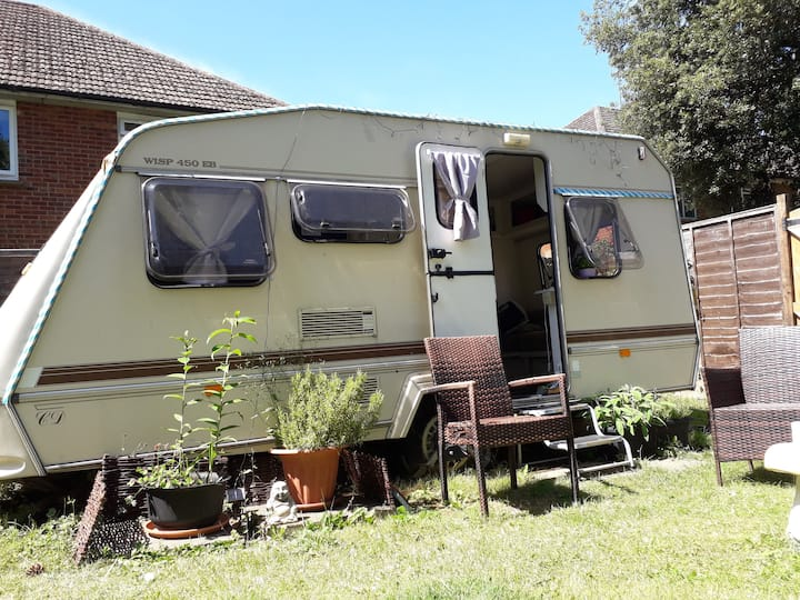 cosy caravan in private secluded garden