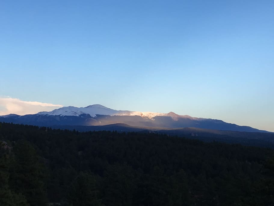 Breathtaking view of Pike's Peak from the deck.