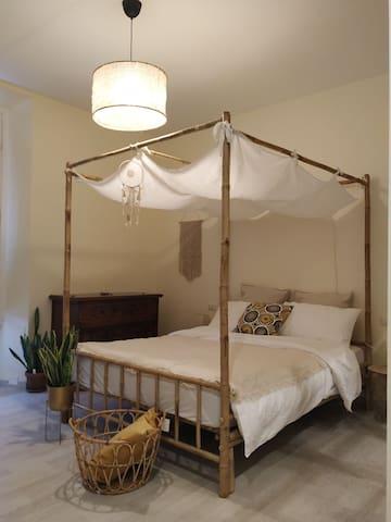 bed made of natural bamboo.