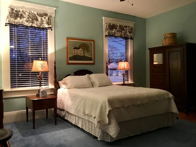 Queen bed includes lux new mattress, pillows and bedding.