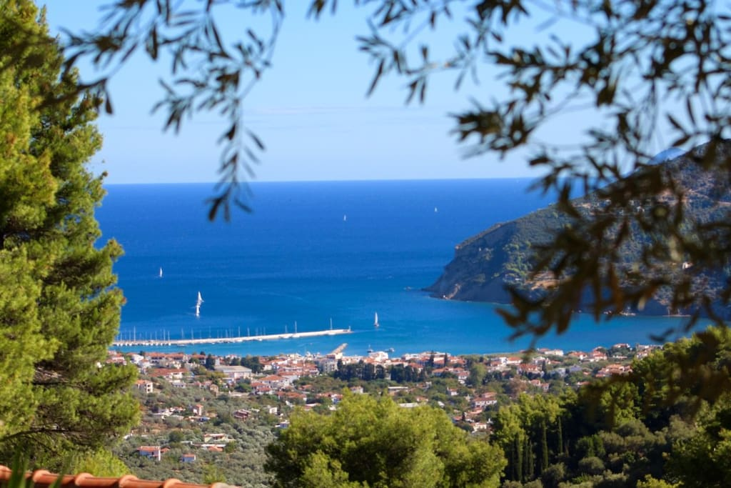 View of Skopelos town and harbour from the Villa