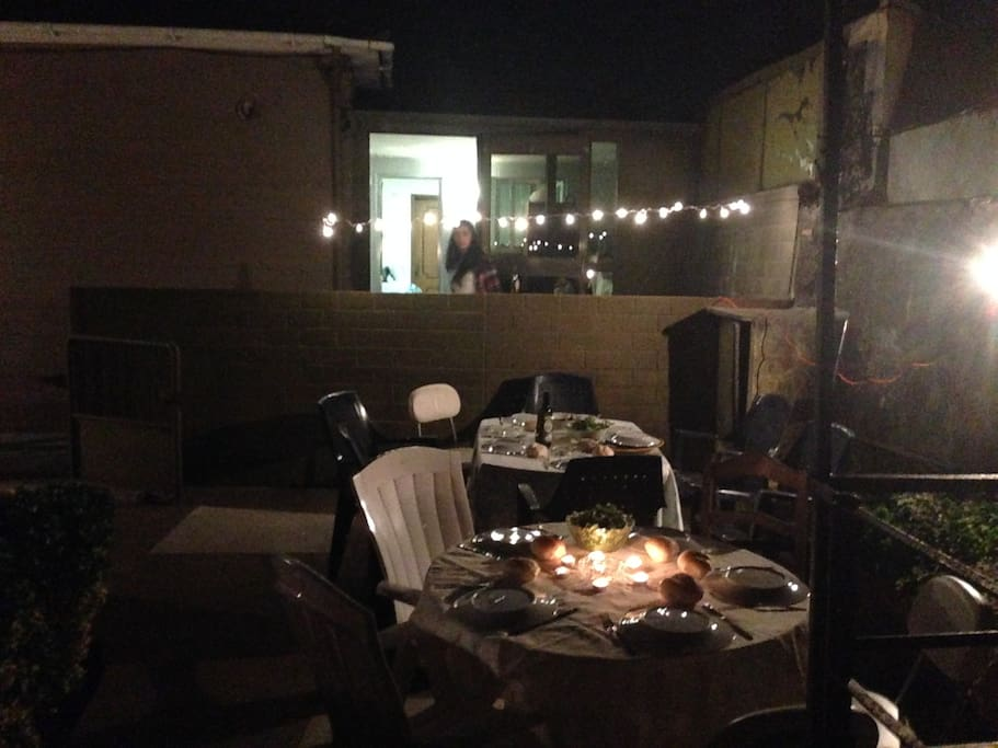 Barbecue dinner with my friends. Got to take advantage of the space I have outside.