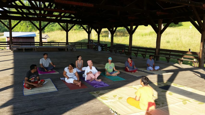 Sunrise Yoga at the pavilion