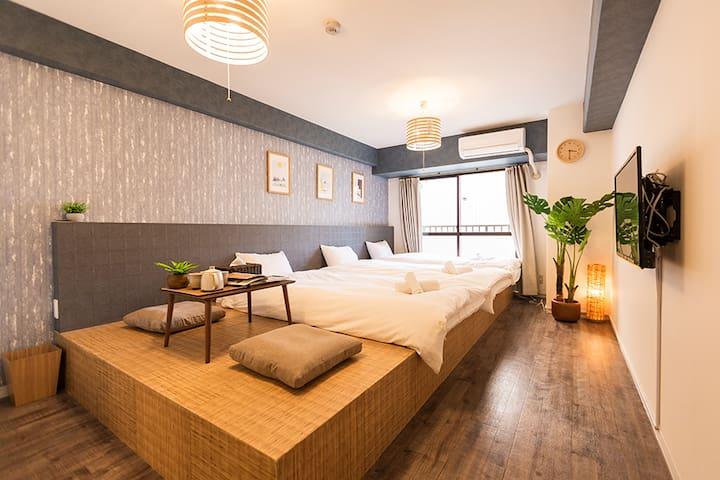 心斎橋ニューハウス   3人泊まれる日本式畳部屋  駅から徒歩4分  徒歩で難波黒門市場へのアクセス