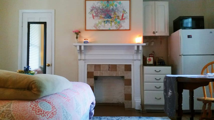 Historic Belmont home with a fireplace, french press, and fun artwork.