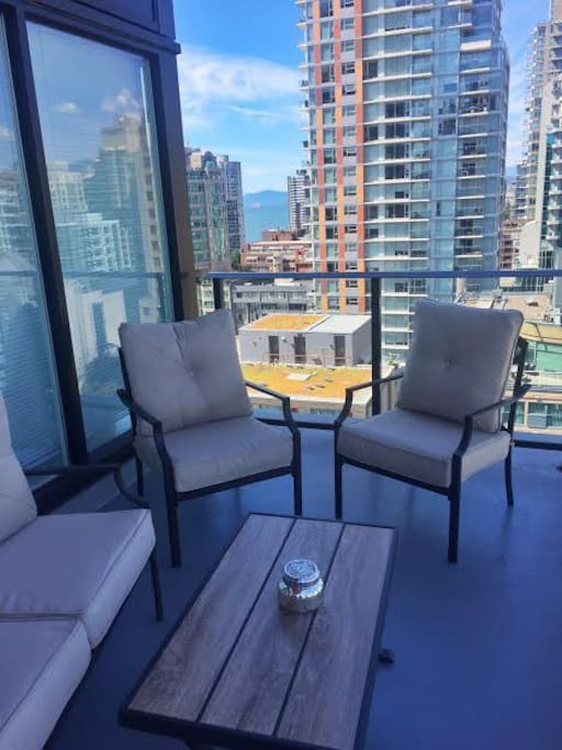 The suite's furnished 200 square foot patio is a great spot for breakfast!