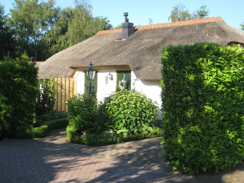 Cozy white cottage with thatched roof and spacious garden