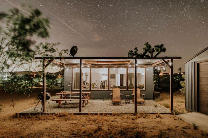 The patio illuminated under the stars
