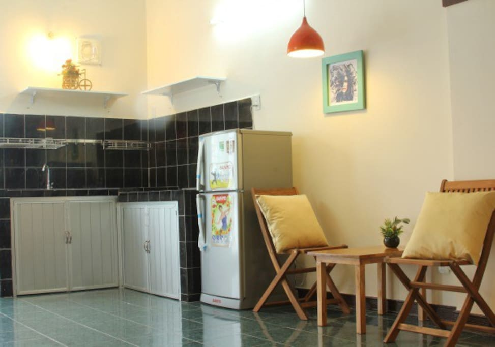 An equipped kitchen so that you can create home cooked meals.