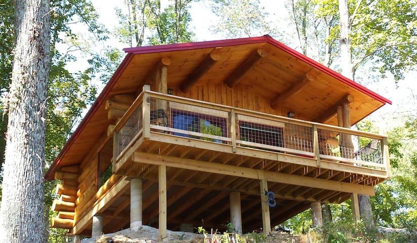Cabin view from hillside below the deck.