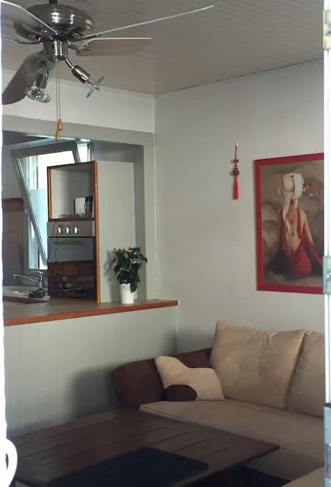 Vue du salon en entrant dans l'appartement. TV écran plat. Wifi
