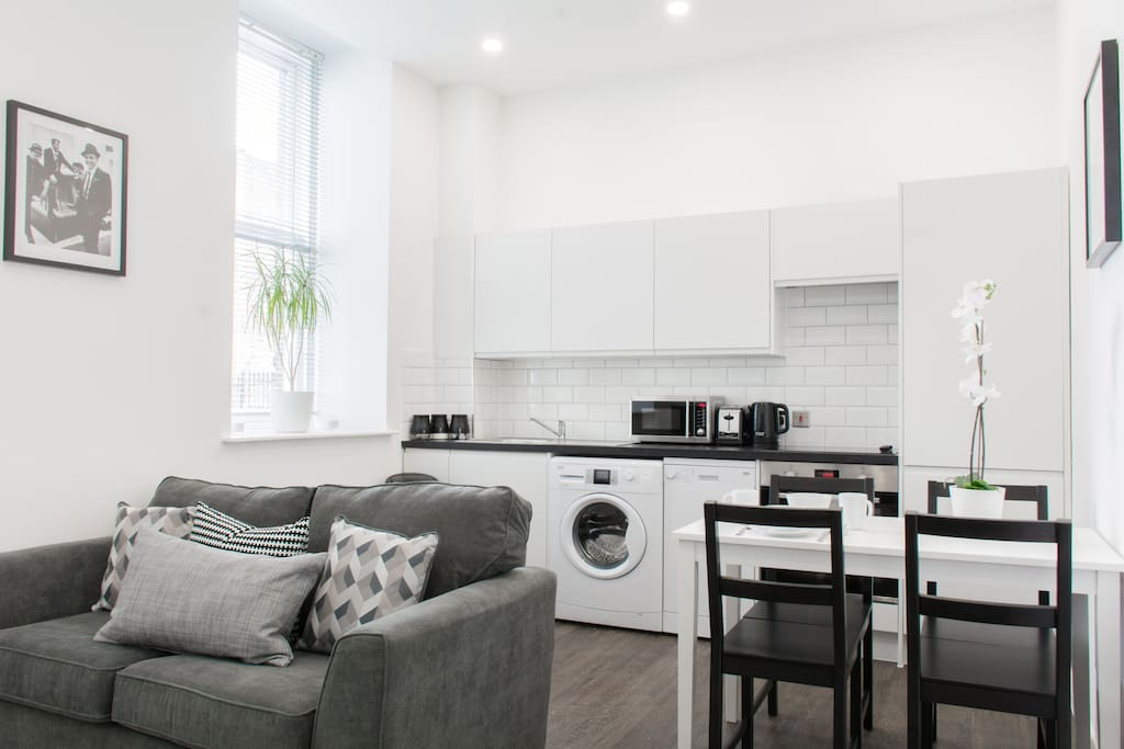 A fresh modern open plan living space. We are right in the heart of the city centre!