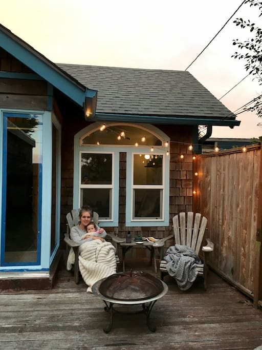 Our front deck and fire pit at dusk... perfect spot for star gazing on cloudless nights
