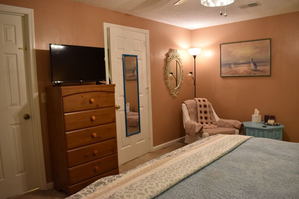 This Master Suite is very spacious and notice the two doors: right leads to common area, left leads to the bathroom.