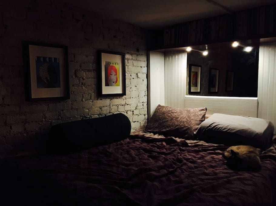 The full size loft bedroom - recessed lighting, integrated USB power jacks, wall mounted flat screen TV