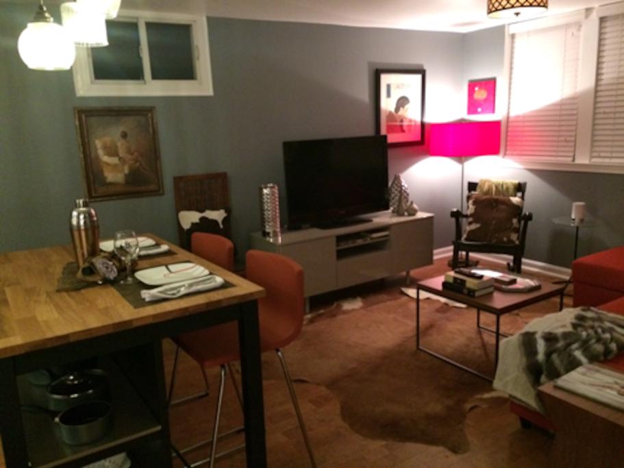 Soft and quiet cork flooring, Roku TV, cozy gas heating.