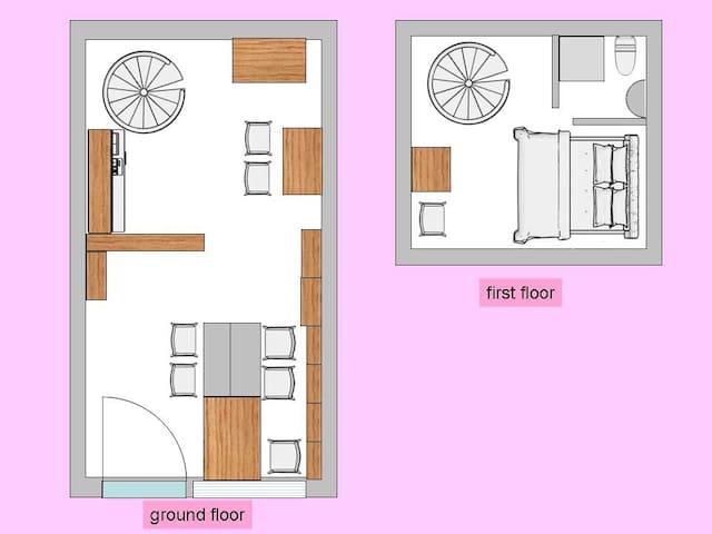 Κάτοψη ισογείου και παταριού  Τα δύο επίπεδα του σπιτιού.