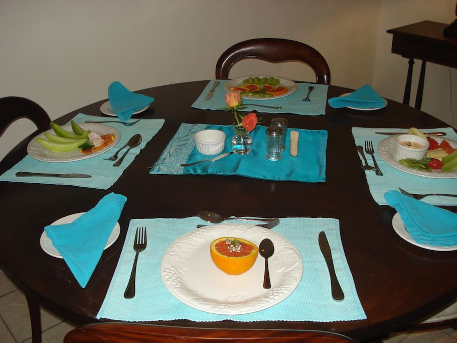 One of the breakfast tables.
