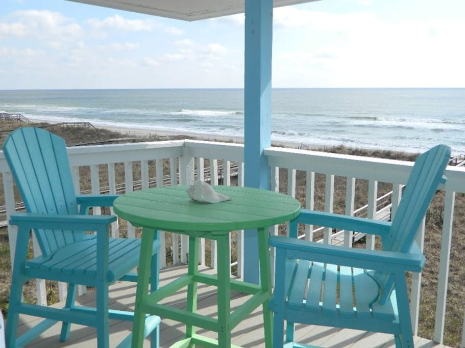 Deck overlooking the ocean - high quality PVC patio furniture