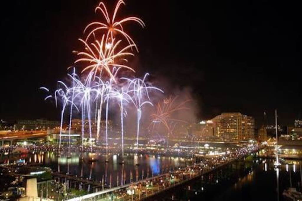 Actual view!! On the most of Saturday nights, see fabulous fireworks light up the Sydney sky at Darling Harbour from your own balcony.