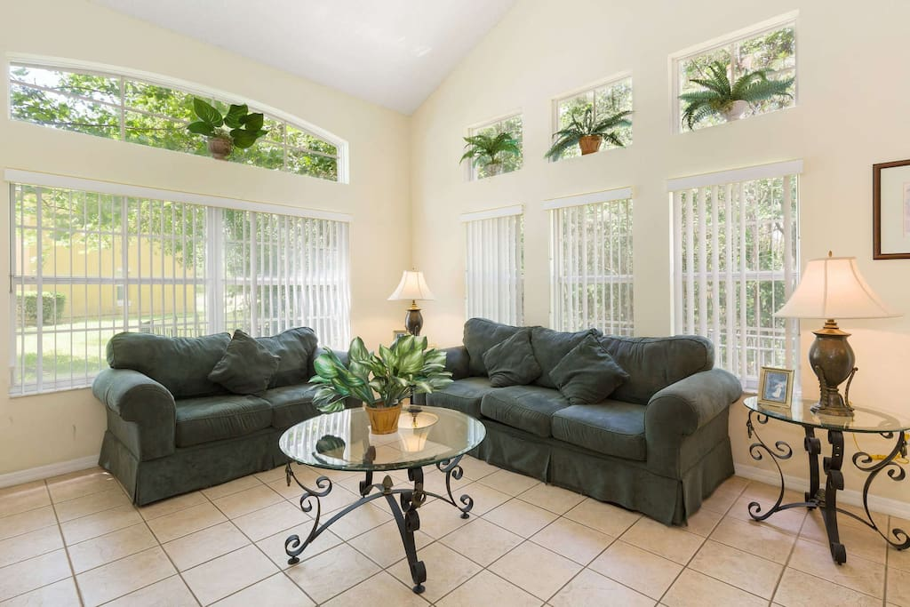 The main living space area has comfortable over-stuffed sofas to relax in while you sit and chat or watch your favorite programs together in the evenings on cable TV and DVD player provided.