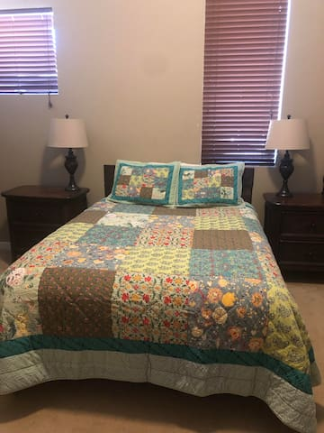 Queen bed in separate bedroom