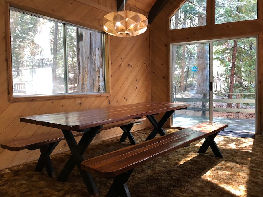 Our oversize heirloom old growth redwood picnic table seats 12+ people. Plenty of plates, glasses, utensils for the whole gang!