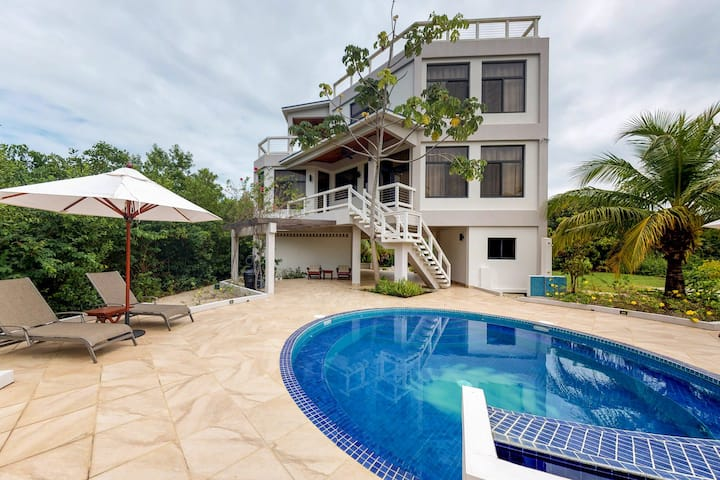 Ocean view getaway w/ private pool, outdoor spaces, strong WiFi & partial AC!