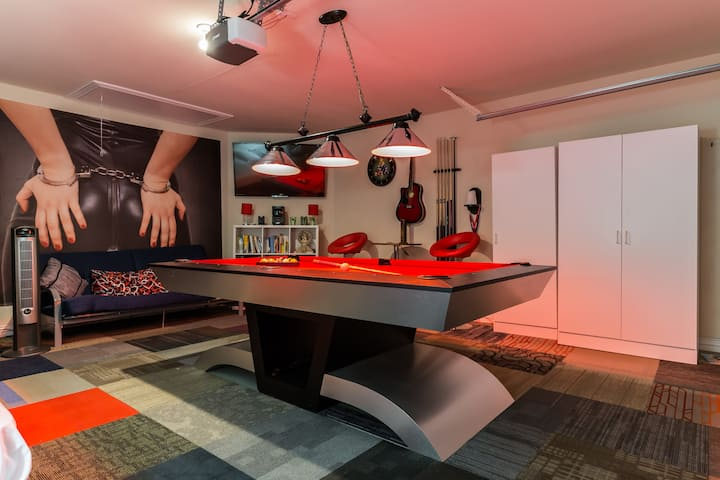 Enjoy the room with pool table.