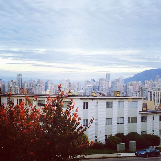 View of downtown Vancouver from bedroom.