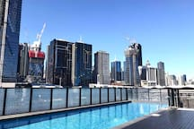 Outdoor pool is on level 4,open till 11pm.