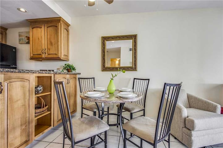 Dining area with view of kitchen counter