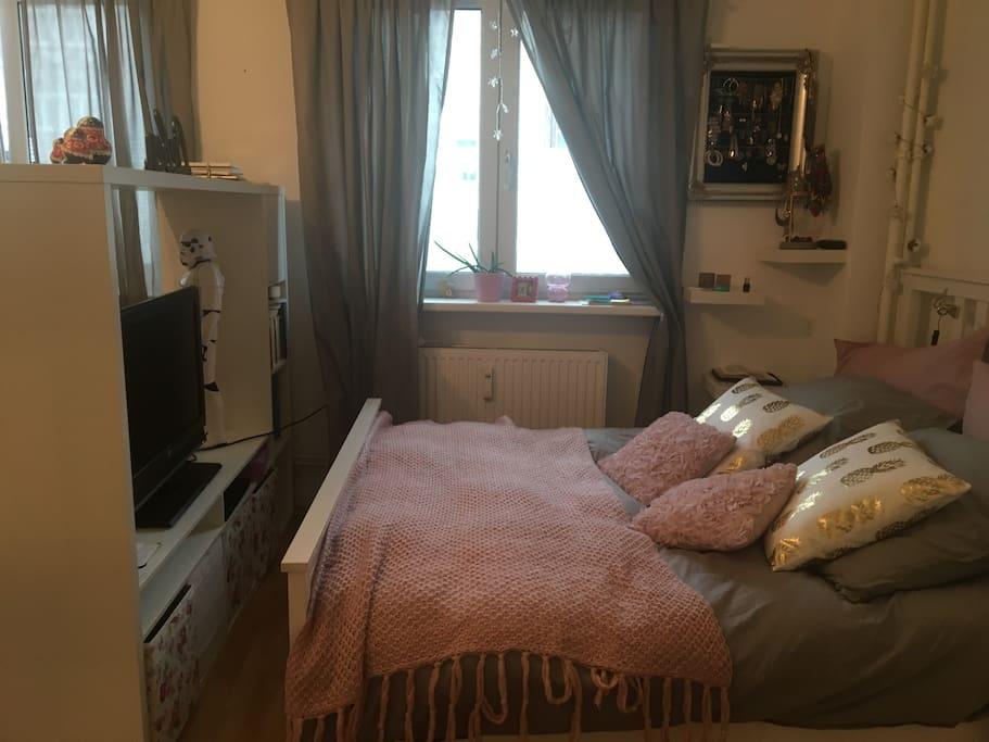 Bett mit TV. Fenster zur Straße