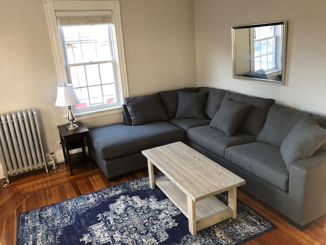 Living room with spacious couch
