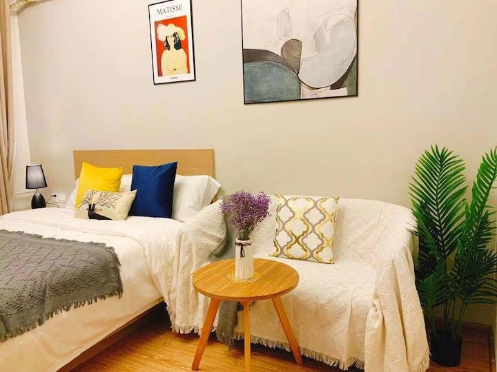 沁雅公寓工体,三里屯,雍和宫地铁大床房