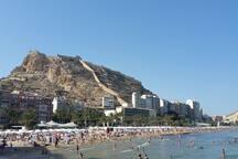 Alicante Beach looking Castillo de Santa Barbara