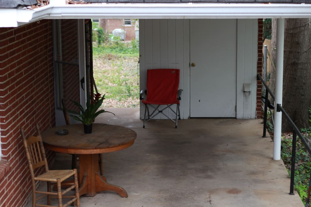 Carport is available to park in and is a great place to take breakfast or coffee.  Washer/Dryer is out here on the patio as well.