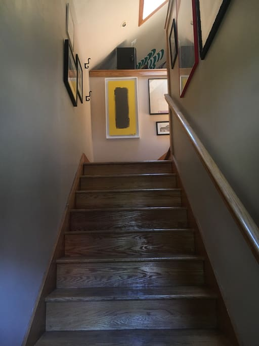 The staircase that leads up to the second floor.