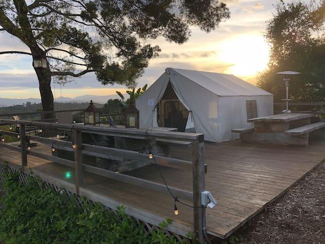 Rustic wall tent w/ amazing 360 mountain views
