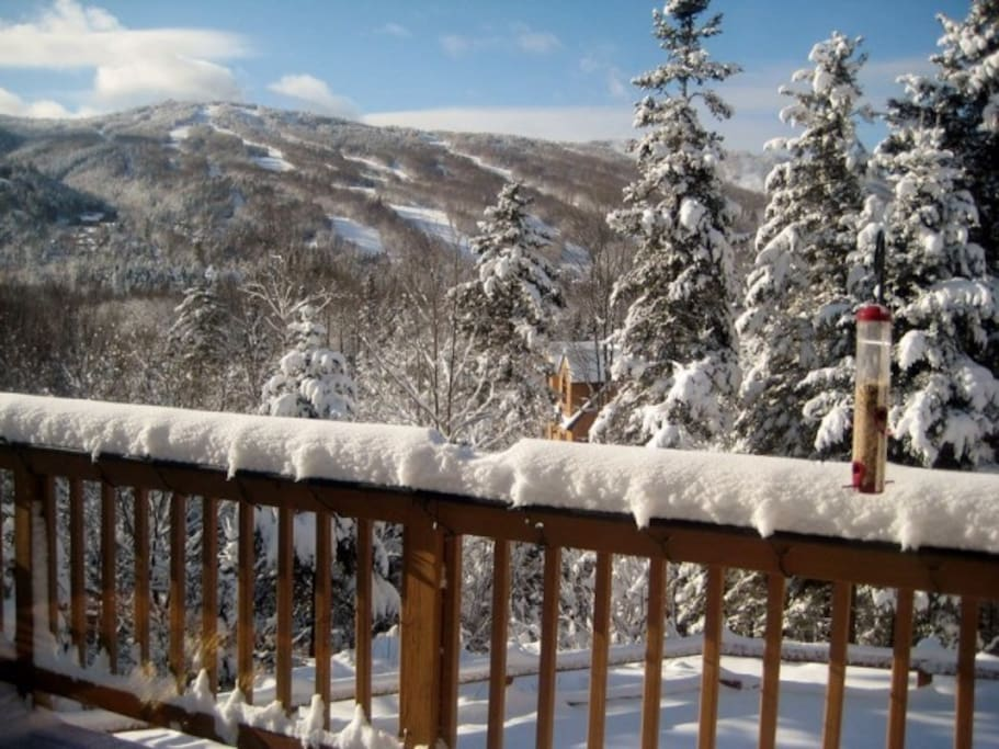 Grand views of Bretton Woods Ski Mountain from deck off dining area.
