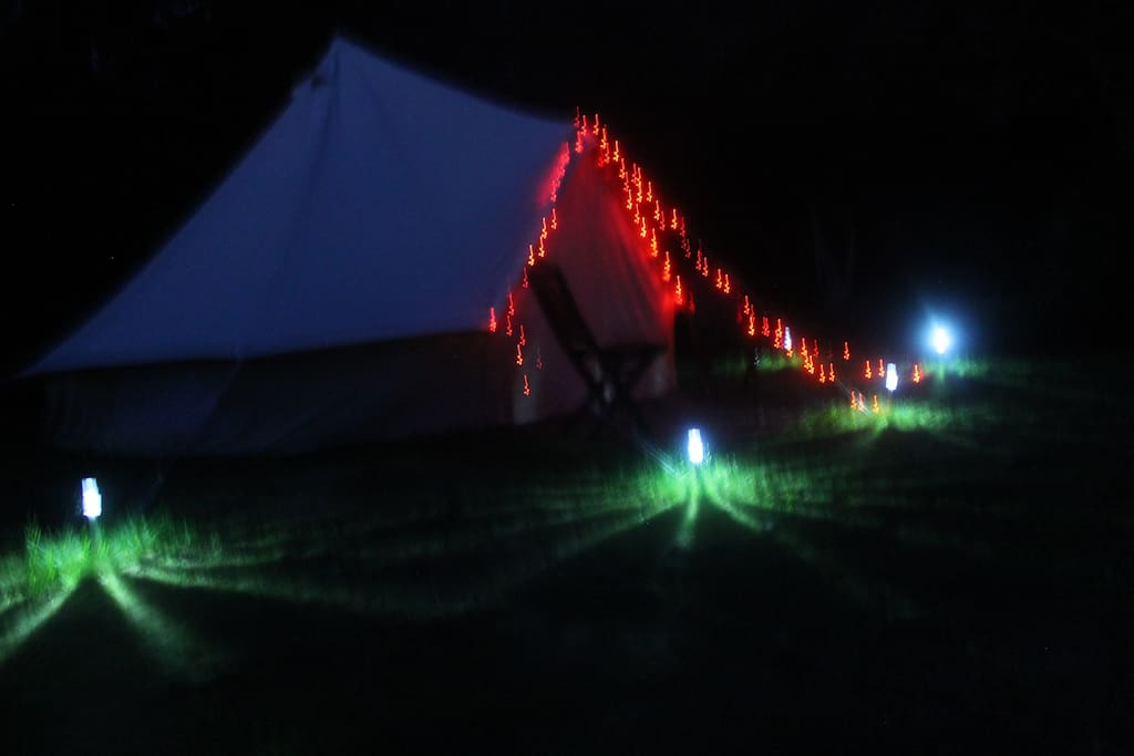 Bell tent by night