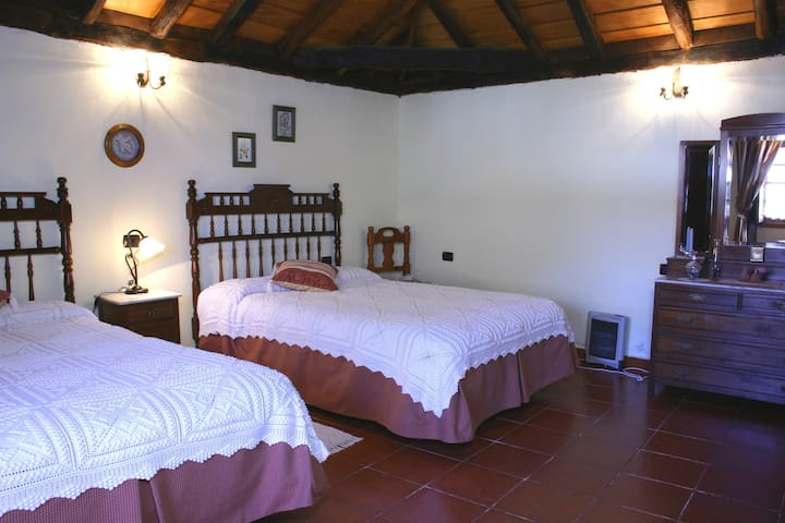 Bedroom: two Canarian king-size beds and dressing table in bedroom.