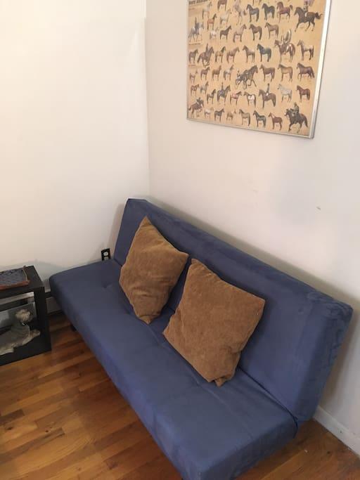 Futon sofa bed in bedroom