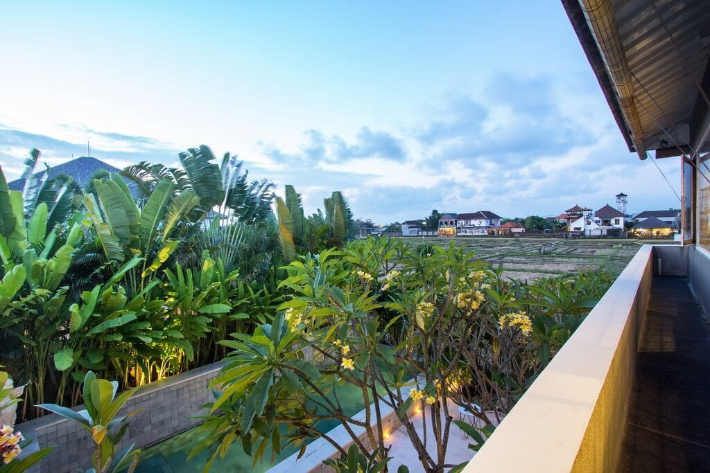 View from 2nd Bedroom towards ricefields and beyond to the hills