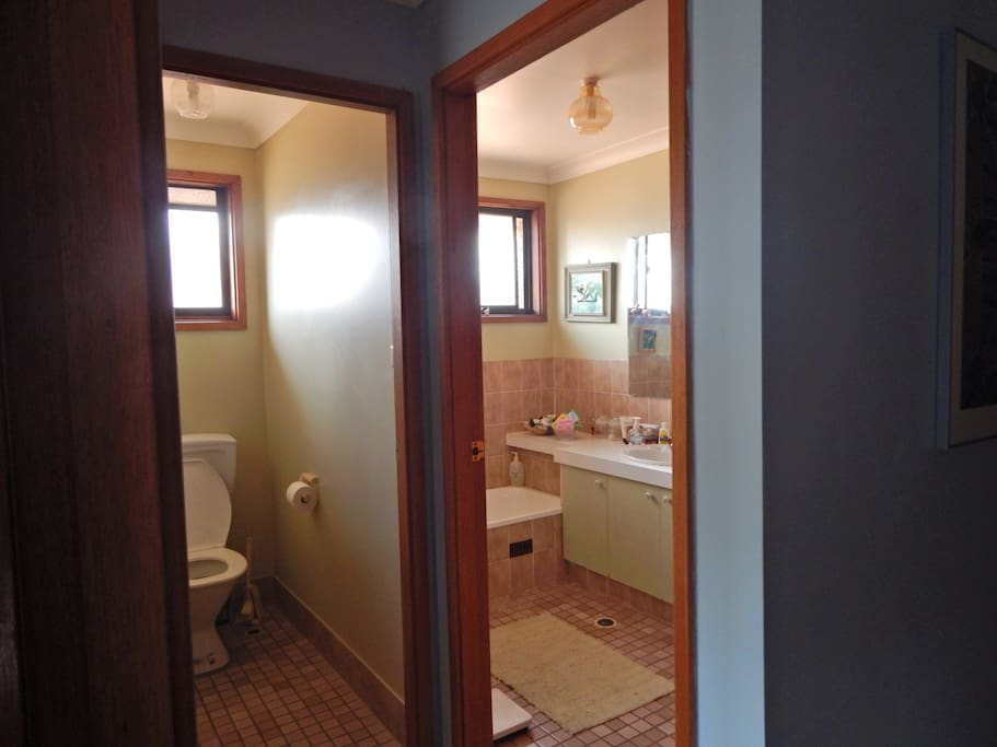 Area has own separate toilet and private bathroom with shower.